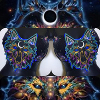 Wolf Spirit LED Bra: rave wear, festival, edm, rave bra, halloween, costume, kandi, plur, coachella, NYE, rainbow, edc, spirit animal