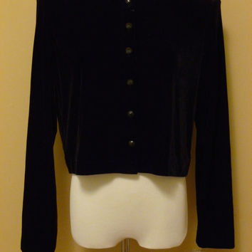 vintage 90s witchy black velvet button front cropped cardigan / deadstock vintage velour sweater small/medium