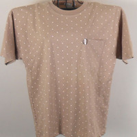 Vintage Women's  Top Claudia Barnes Beige with White   Polka Dots  Size M 1980s NWT