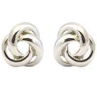 TIMELESS Classic Silver Love Knot Stud Clip On Earrings