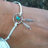 White Dream Catcher Anklet or Bracelet beaded Turquoise Center