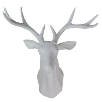 Plastic Deer Head Wall Hanging Decoration White
