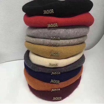 """Dior"" Women Casual Hat Fashion Classic Letter Logo Woolen Beret Cap Painter Cap"