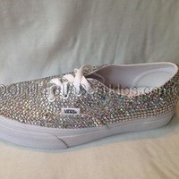 Genuine Rhinestone Crystal Authentic Vans Shoes- Bridal Prom Trainers