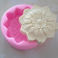Lovely Retro Big Flower Soap Mold Craft Art Silico