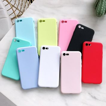 Candy Macarons Color Frosted Matte Phone Case For iPhone 6 7 8 Plus X 5 5S 5SE Original Soft Silicone Candy Back Cover Fundas