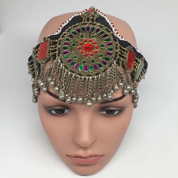 Kuchi Headdress Headpiece Afghan Ethnic Tribal Jingle Alpaca Bells Glass,CK647