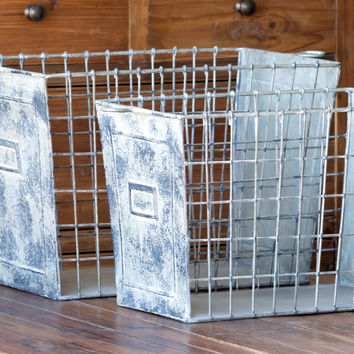 Vintage Metal Gym Locker Baskets - Set of 2