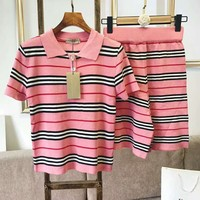 BURBERRY Newest Fashionable Women Casual Pink Stripe Top Skirt Set Two-Piece
