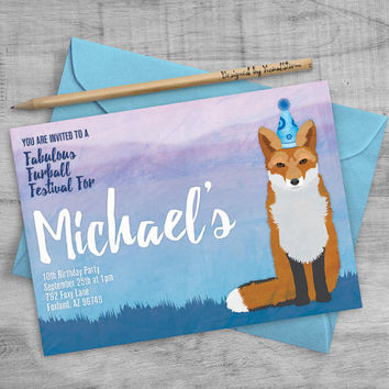 Red Fox Birthday Invitation, Printable Fox Party Invite Woodland Birthday Invitation Blue Mountain Animal Invitation Woodland Fox Invitation