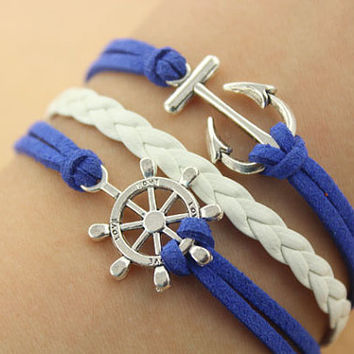 anchor bracelet--rudder bracelet,antique silver charm bracelet,blue&white braid leather bracelet,MORE COLORS