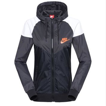 nike fashion hooded zip sweatshirt jacket sport cardigan coat windbreaker sportswear