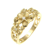 YELLOW GOLD PLATED SILVER 925 HAWAIIAN 3 PLUMERIA RING MAILE LEAF CUT OUT SCROLL