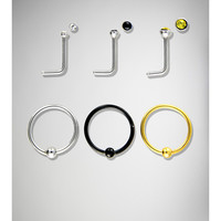 20 Gauge Gold, Silver, and Black Nose Hoop and Stud 6 Pk