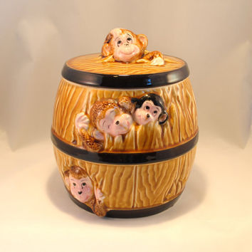 Cookie Jar, Barrel of Monkeys, by Gift Craft, Japan, Fine Ceramic