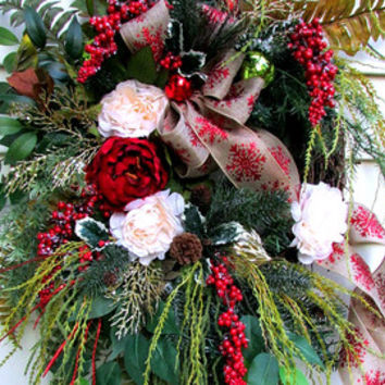 Christmas wreath, winter wreath, grapevine peony wreath, elegant wreath, wispy wreath, Designer Christmas wreath, woodland wreath, berries