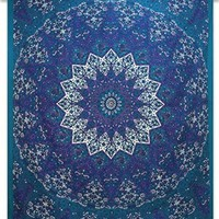 Indian Cotton Blue Wall Art Decor Bohemian Tapestry Full Size Wall 92X82 Indian Gift