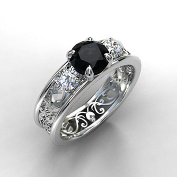 black and white diamond filigree engagement ring trinity ring white gold yellow gold - Goth Wedding Rings
