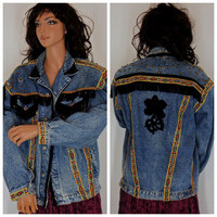 Upcyled Denim Jacket, Size M, restyled boho, gypsy, hippie, Santa Fe, jean jacket