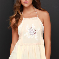 Warm Weather Wishes Cream Embroidered Halter Top