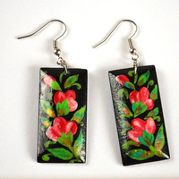 Earrings of wood with hand painted Handmade rectangular wooden earrings folklore jewelry Gift idea for her Pink flowers