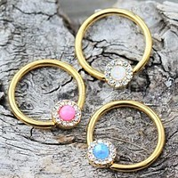 Gold Plated Jeweled Synthetic Opal Captive Bead Ring Nipple Jewelry