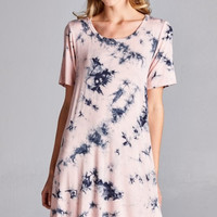 Tie Dye Tunic Dress - Dusty Rose/Navy