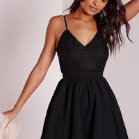 Missguided - Lace Top Chiffon Skater Dress Black