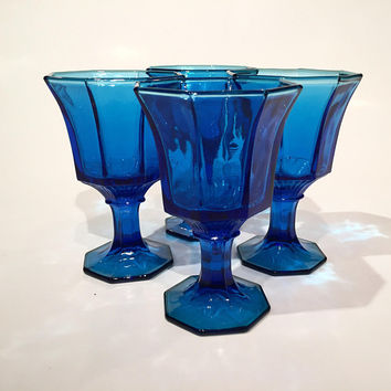 Cobalt Blue Wine Glasses, Set of 4 Independence Glass Goblets, Vintage Colored Glass Goblets, Wedding Decor