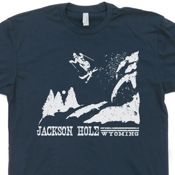 Retro Ski T Shirt Jackson Hole Wyoming Skiing T Shirt Vintage Ski Resort T Shirt