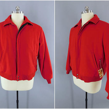 Vintage 1980s Wool Coat / 80s Men's Jacket / Woolrich Vintage Menswear / Bright Red / Flannel Lining / XL