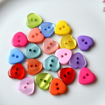 Peach Heart Buttons - Shiny Heart Buttons - 10mm Buttons - Small Heart Buttons