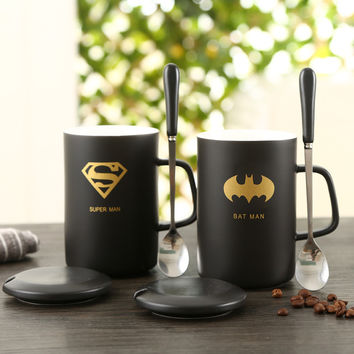 High Quality Black Ceramic Mug with Creative Cup Cover Cup