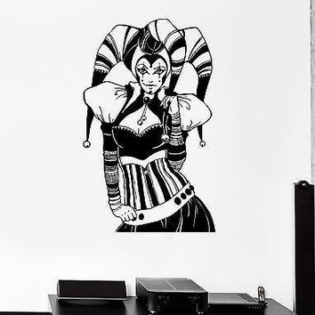 Wall Stickers Gothic Sexy Girl Joker Cards Gambling Mural Vinyl Decal Unique Gift (ig1926)