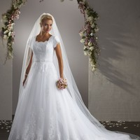 Bonny Bliss 2405 Modest A-Line Lace Wedding Dress
