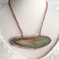 Raw Stone Necklace - Sliced Agate Pendant - Electroplated Stone Necklace - Crystal Necklace - Copper Chain - Boho - Hippie Necklace