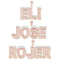 Custom Rose Gold Finish Snow Top Cone Silver Initial