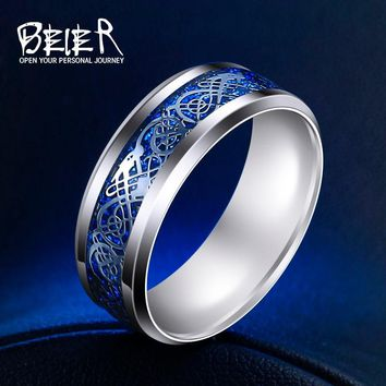 Beier 316L Stainless Steel Men lord Wedding Dragon nose Viking ring for Amulet Battleship Faucet Fashion Jewelry LR-R002