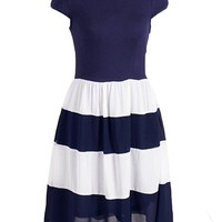 Women Summer Navy White Stripes Round Neck Pleated Chiffon Cocktail Party Dress
