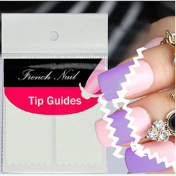 2 Sheet Creative French Manicure Wave Edge Tip Guides Nail Art Sticker C3
