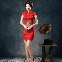 Hot Fashion Cheongsam Dressess Traditional Vintage Chinese Women Satin Short Sleeve Slim Qipao Dress #78925
