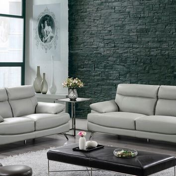 2 pc Diana collection light gray genuine leather match sofa and love seat with chrome legs