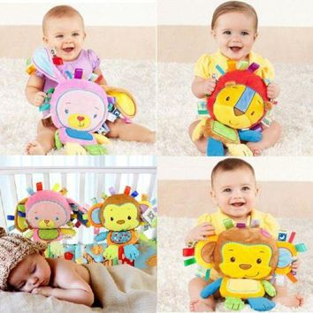 DCCKFS2 8 Styles Baby Toys Rattles Pacify Doll Plush Baby Rattles Toys Animal Hand Bells Newbron Animal elephant/monkey/lion/rabbit