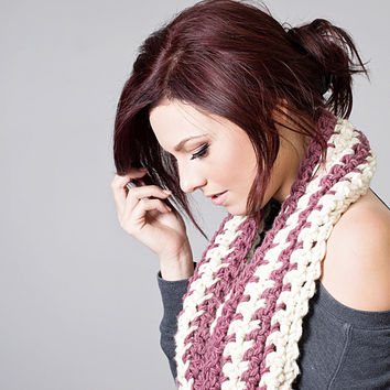 Purple and Cream Striped Crochet Cowl