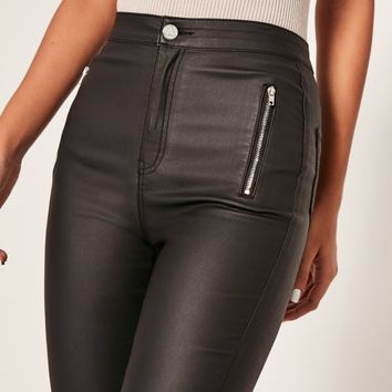 Missguided - Black Vice High Waisted Coated Zipped Skinny Jeans