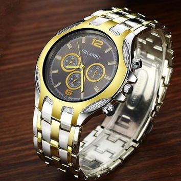 Men Watches New Fashion Top Quality Quartz Round Dial Hot Sale Silver Gold Plated Stainless Steel Men Dress Wristwatch Drop Ship
