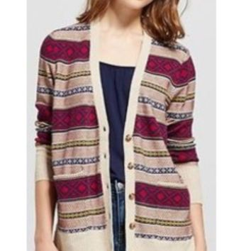 NEW! Women's Boyfriend Cardigan - Mossimo Supply Co. Cream LARGE, Multicolored