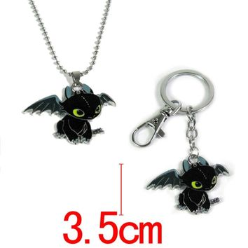 How to Train Your Dragon toys figures keychain New Fashion Cute Toothless Necklace Pendant keyring for kids toys