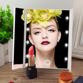 LED Lights Makeup Mirror 3 Folding Cosmetic Tabletop Beauty Vanity Mirror Adjustable Countertop Light Mirror New Design