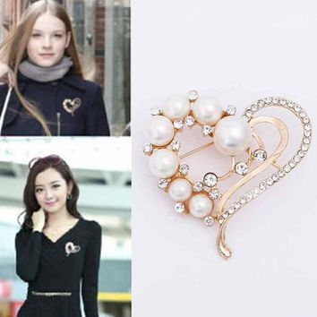 Girl Simulated-pearl Peach Heart Crystal Luxury Large Brooches For Women Brooch Pins Collar Pin Jewelry